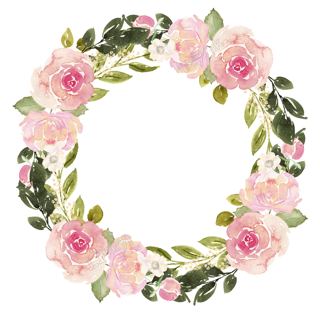 Watercolor flowers borders elements ornaments png free. Flower wreath matting vector