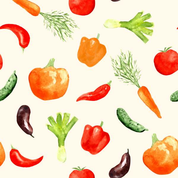 Watercolor hand drawn vegetables seamless pattern.
