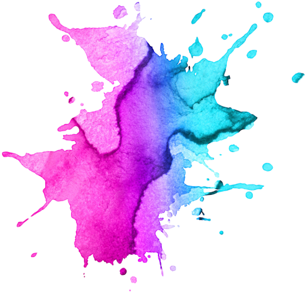Watercolor paint splatter png. Pink purple colour blue