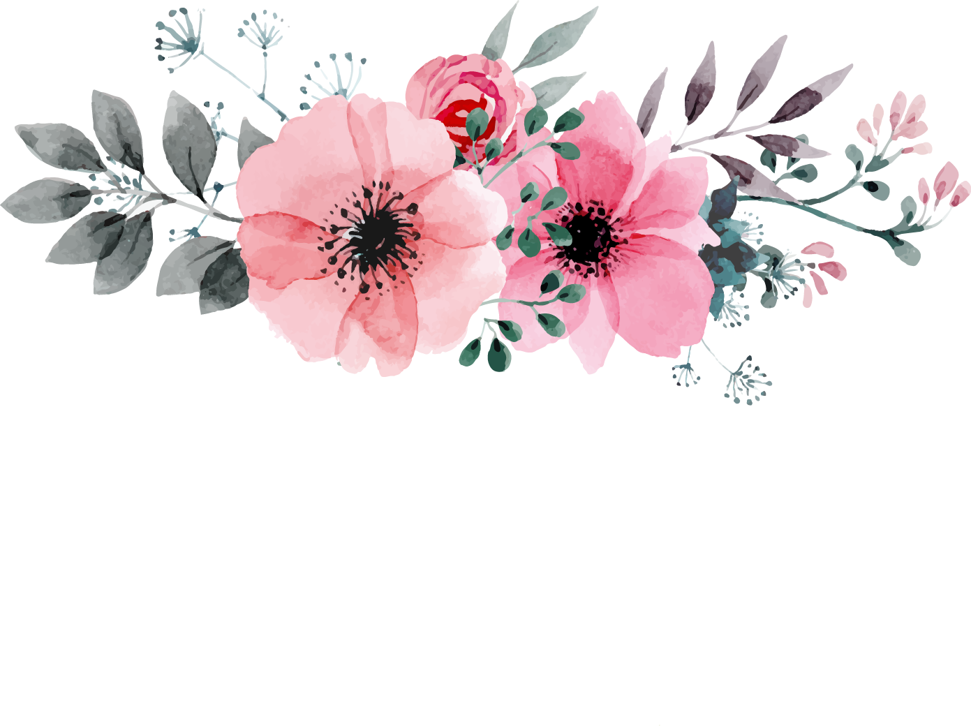 Watercolor roses png. And butterflies seamless background