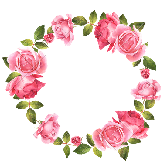 Watercolor roses png. Garden painting flower wreath