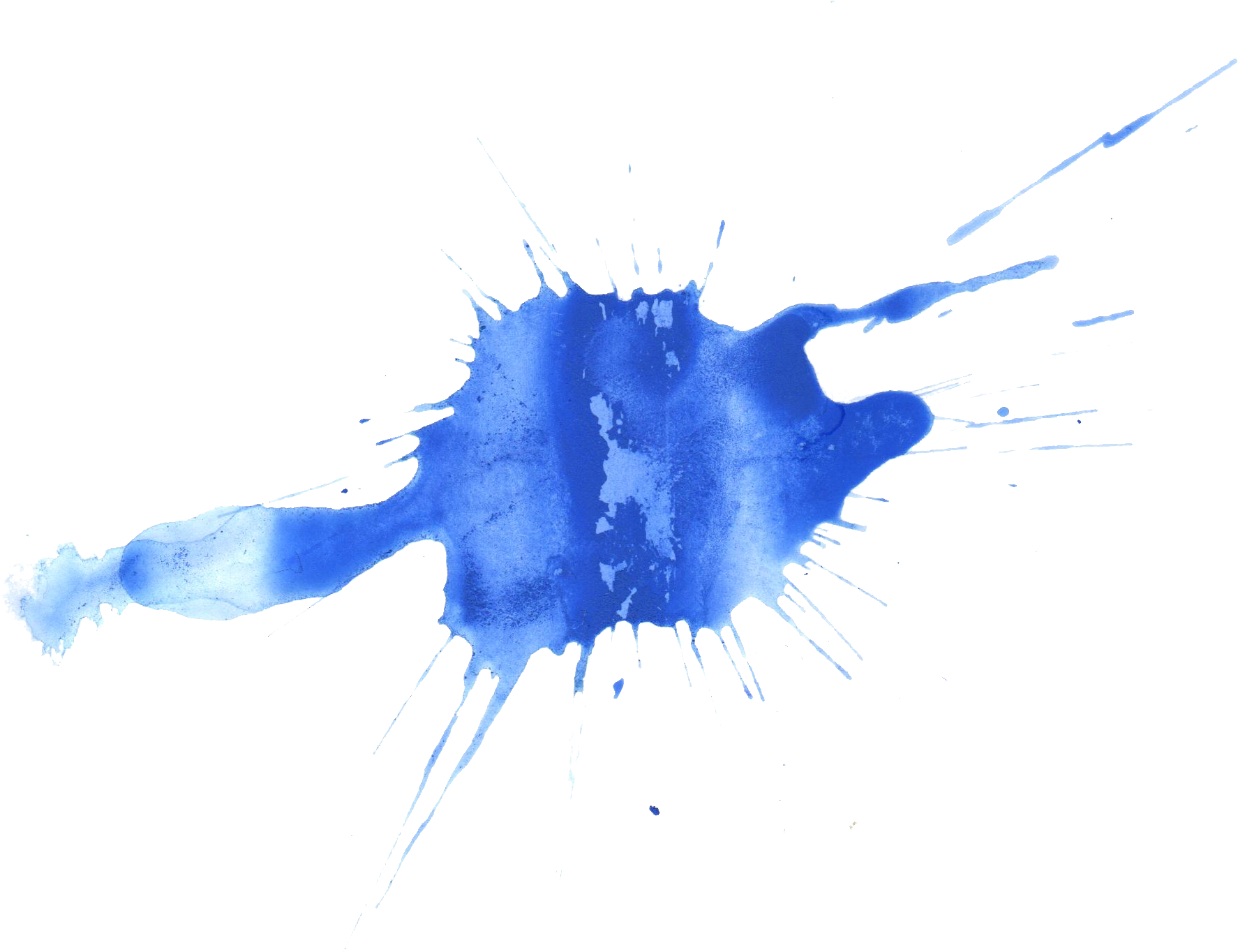 Watercolor paint splatter png. Blue transparent onlygfx