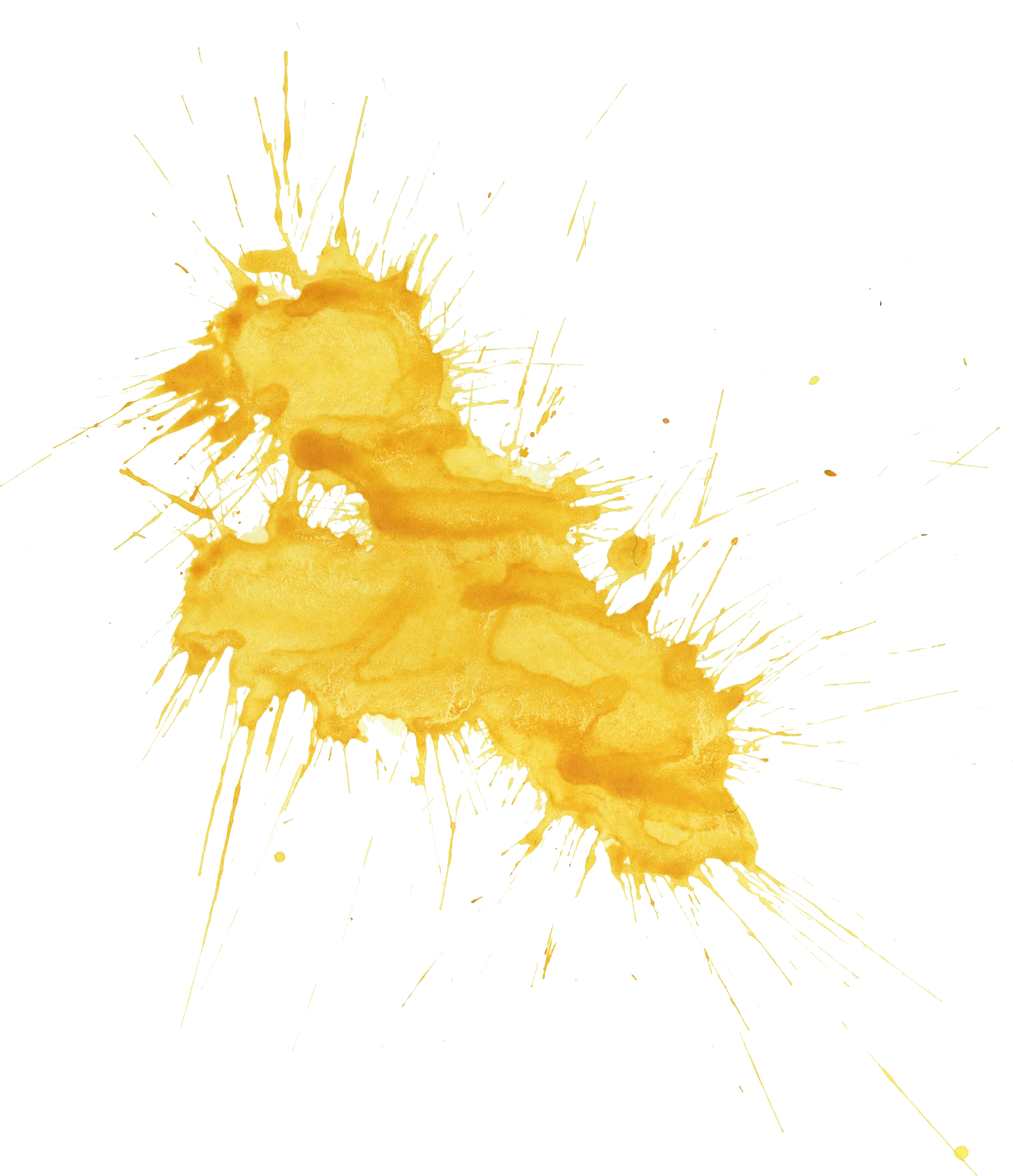 Yellow paint splatter png. Watercolor transparent onlygfx