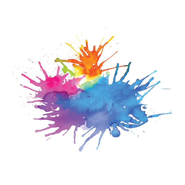 Watercolor splash background png. Multicolored stain multi color