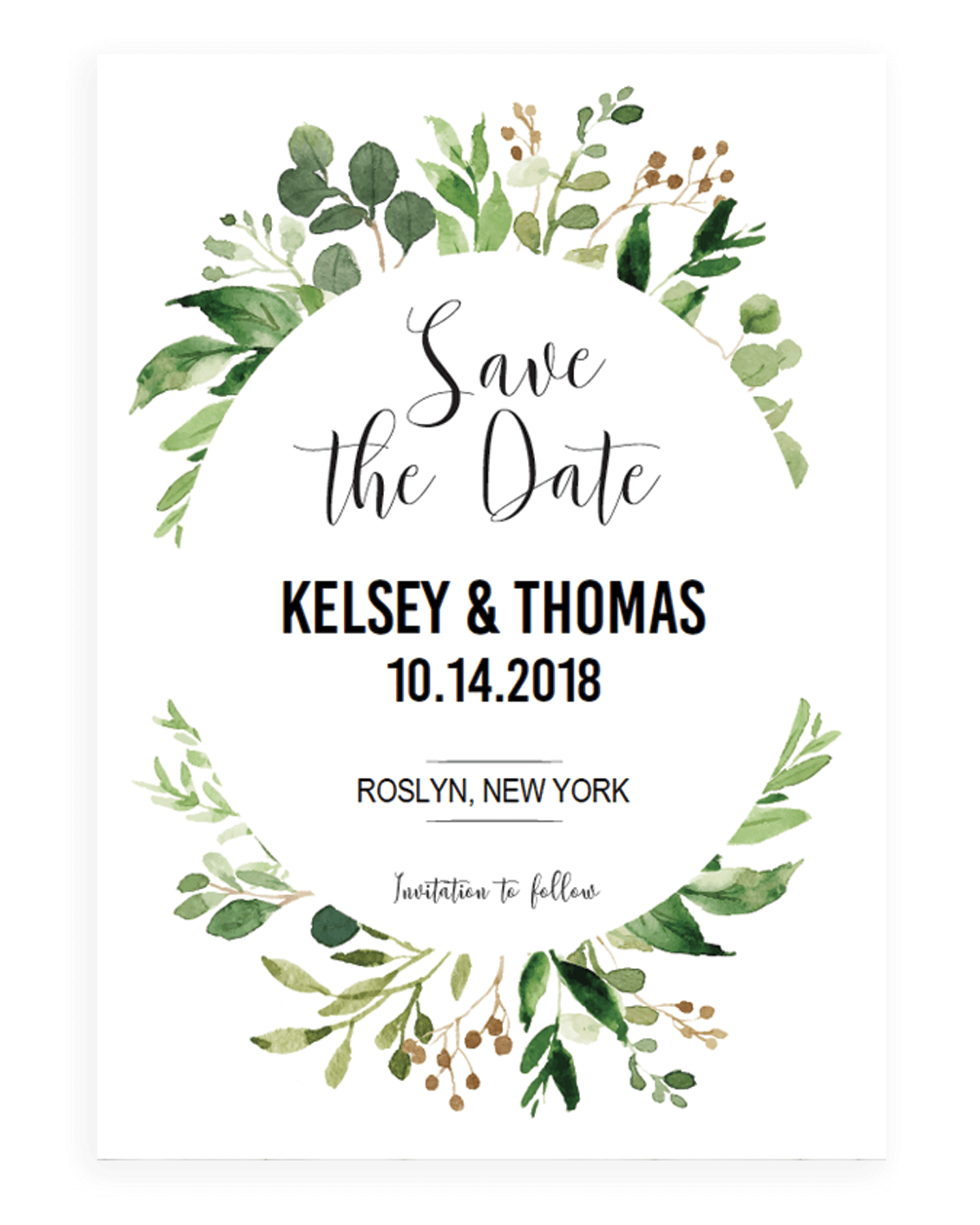Green Leaves Watercolor Wedding Invitation Template Download Free