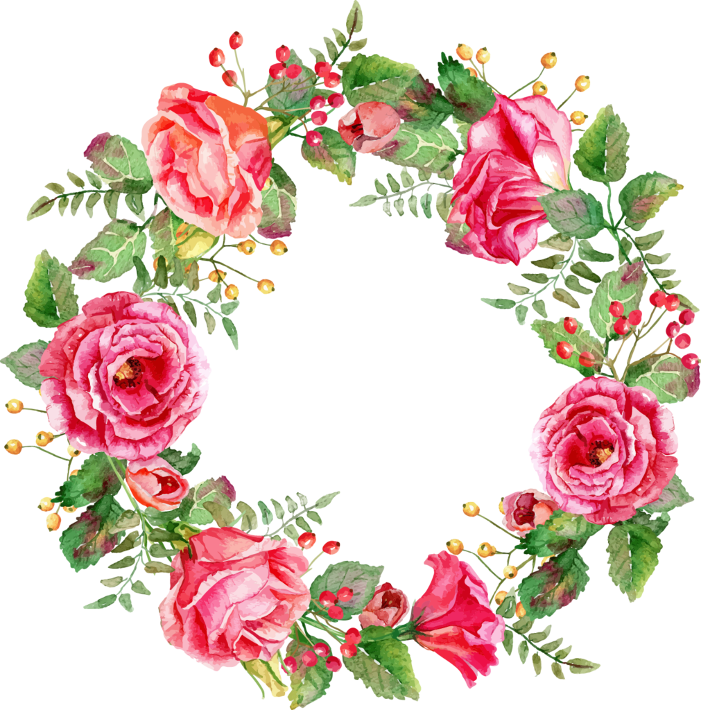 Watercolor wreath flower png. Free floral with flowers