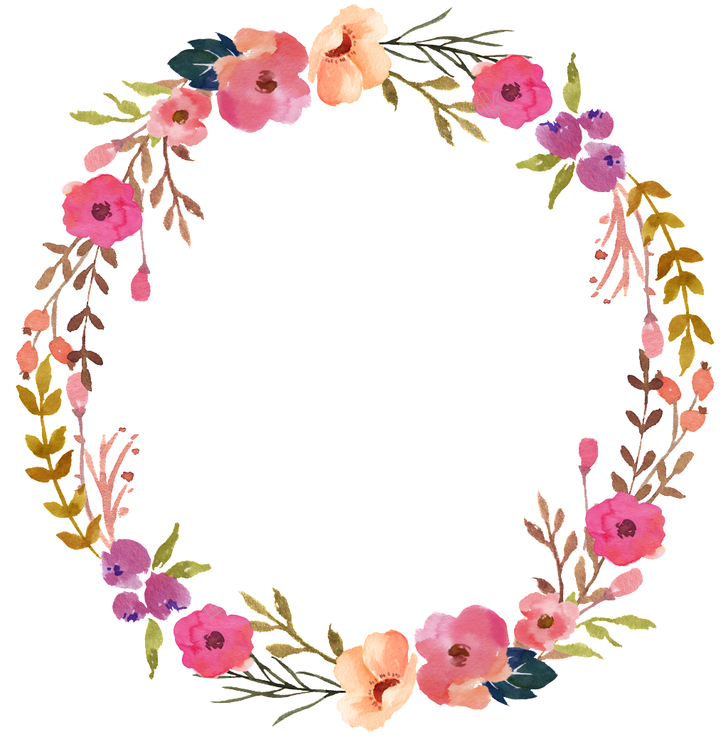 Watercolor wreath flower png. Hand painted transparent ornamental