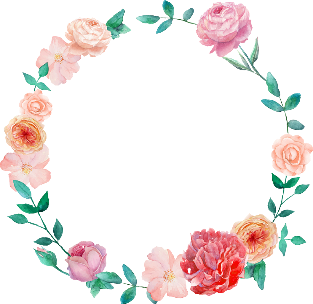 Watercolor wreath flower png. Flowers wreathofflowers pink orange