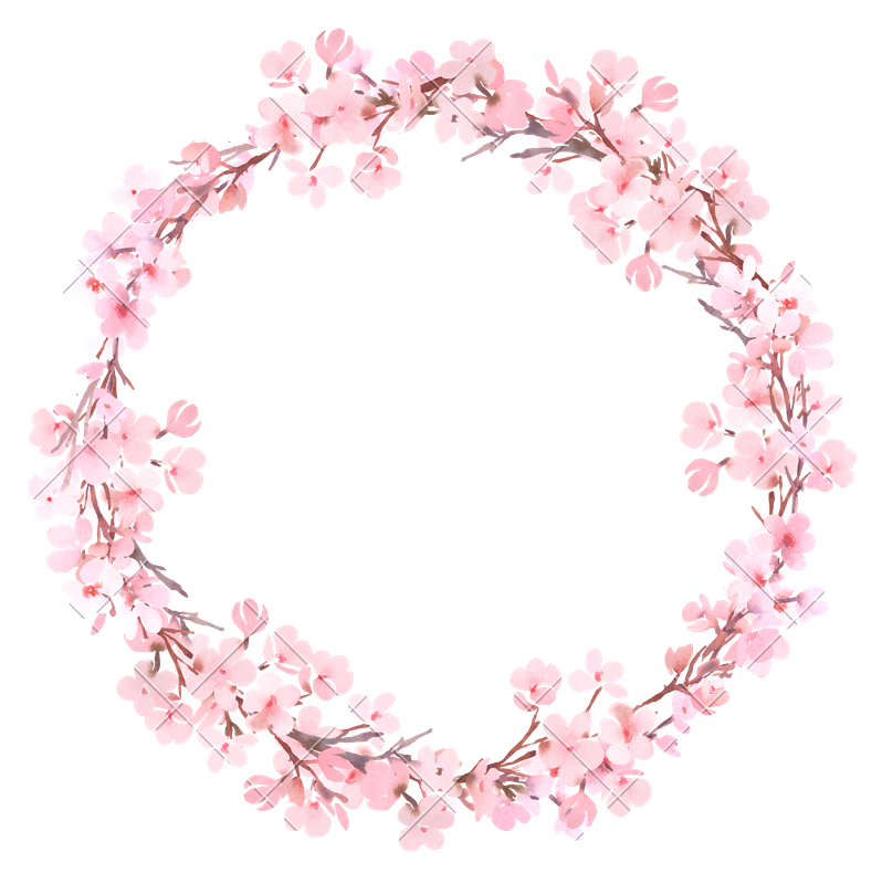 Watercolor wreath png. Spring pink blossom photos