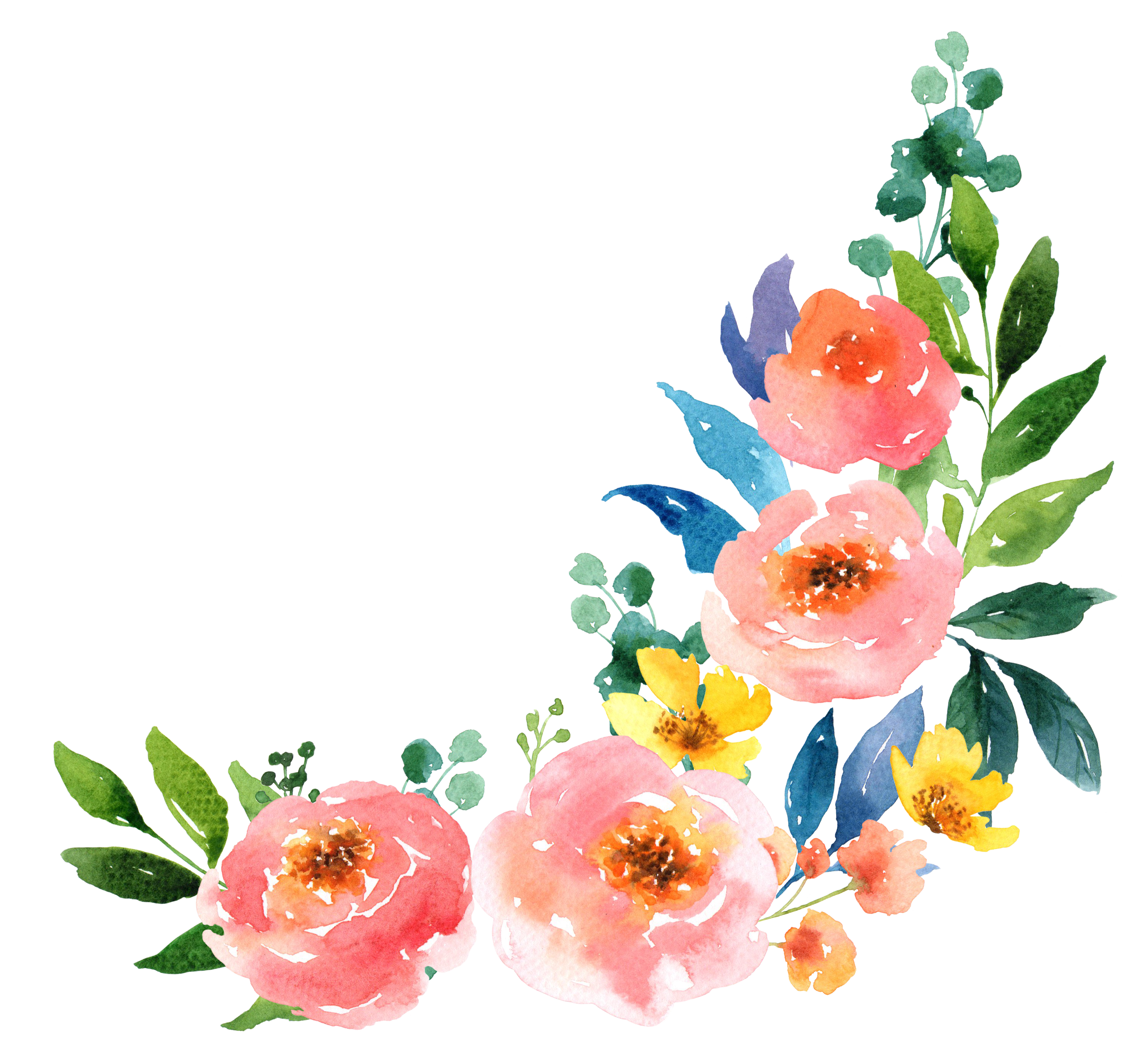Watercolor flowers png free. Paper watercolour painting transprent