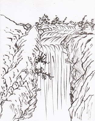 Waterfall clipart easy. Drawing at getdrawings com