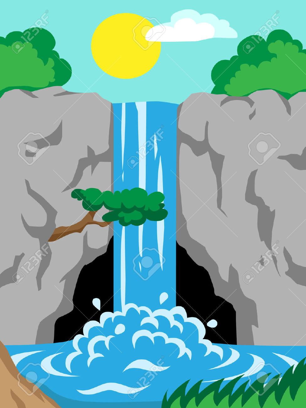 Waterfall clipart easy. Cartoon drawing a simple