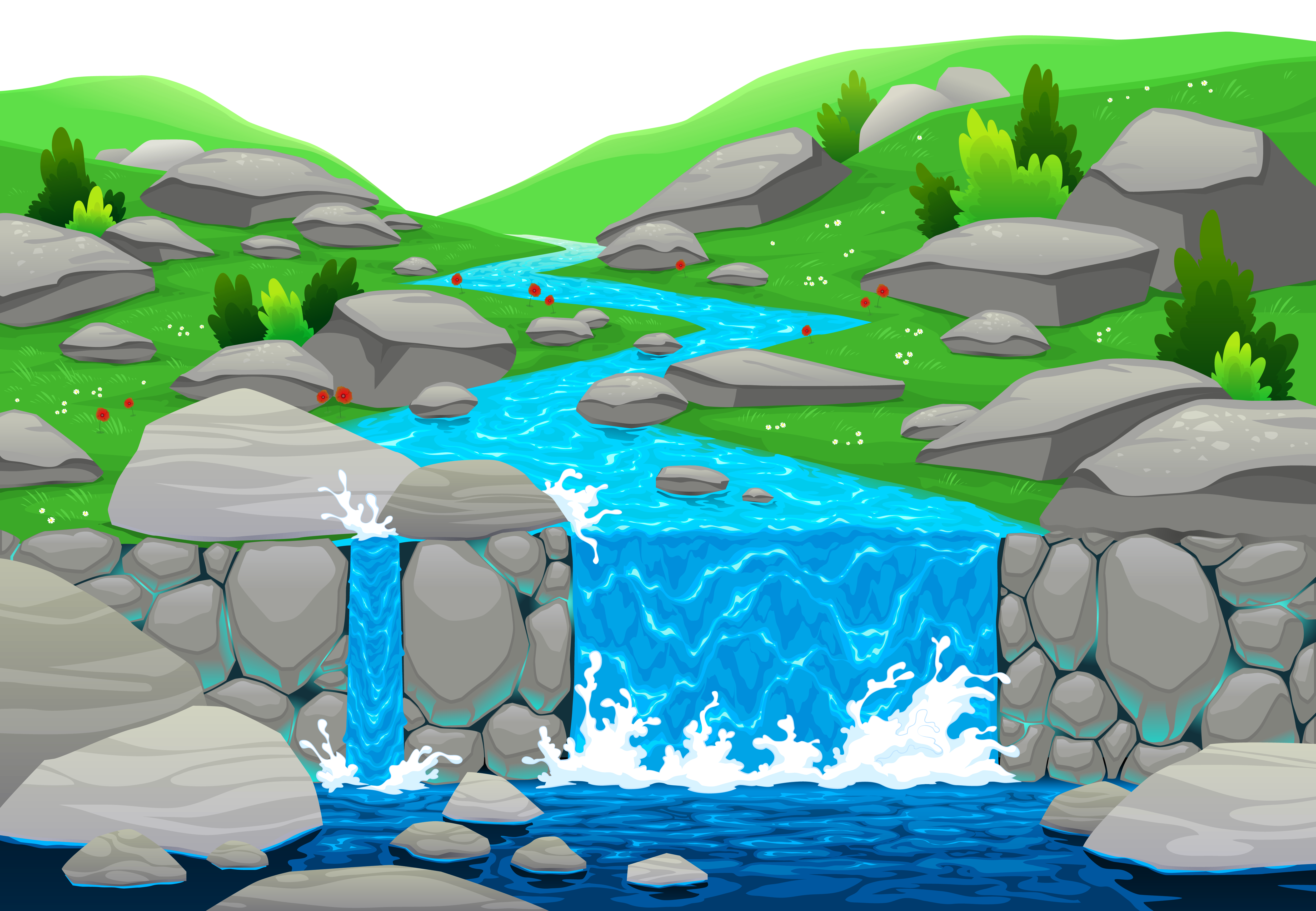 waterfall clipart falling water