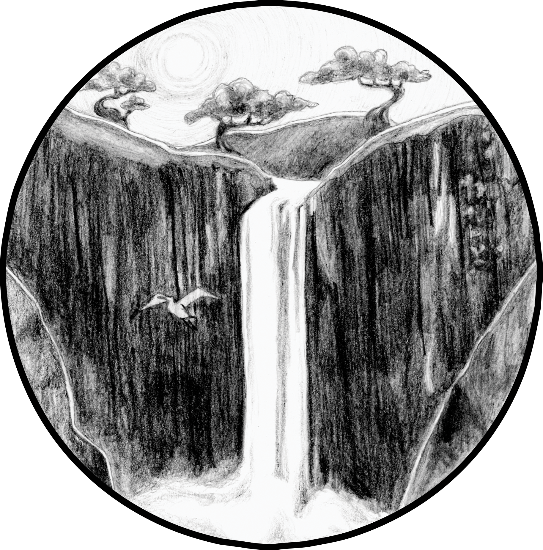 waterfalls drawing cliff