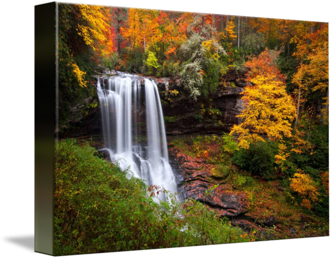 Waterfalls drawing scene. Autumn at dry falls