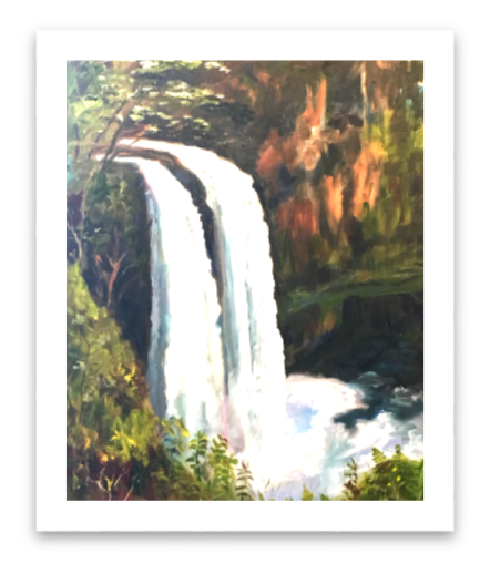 Waterfalls drawing nature. Original paintings by evelyn