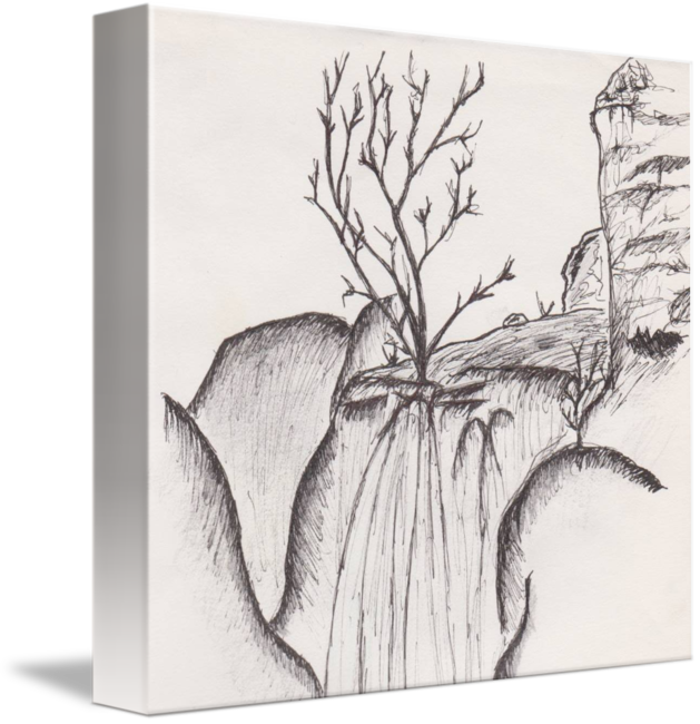 Waterfalls drawing pencil. Waterfall ink by michelle
