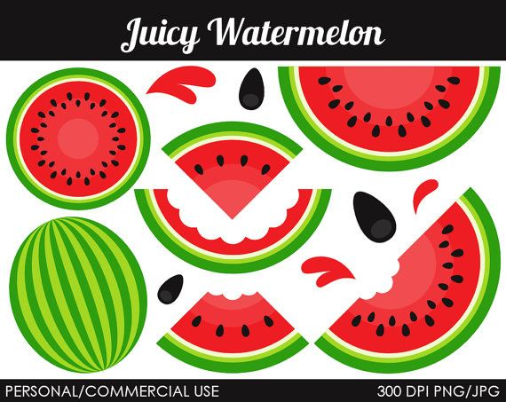 Watermelon clipart juicy watermelon. Digital clip art by