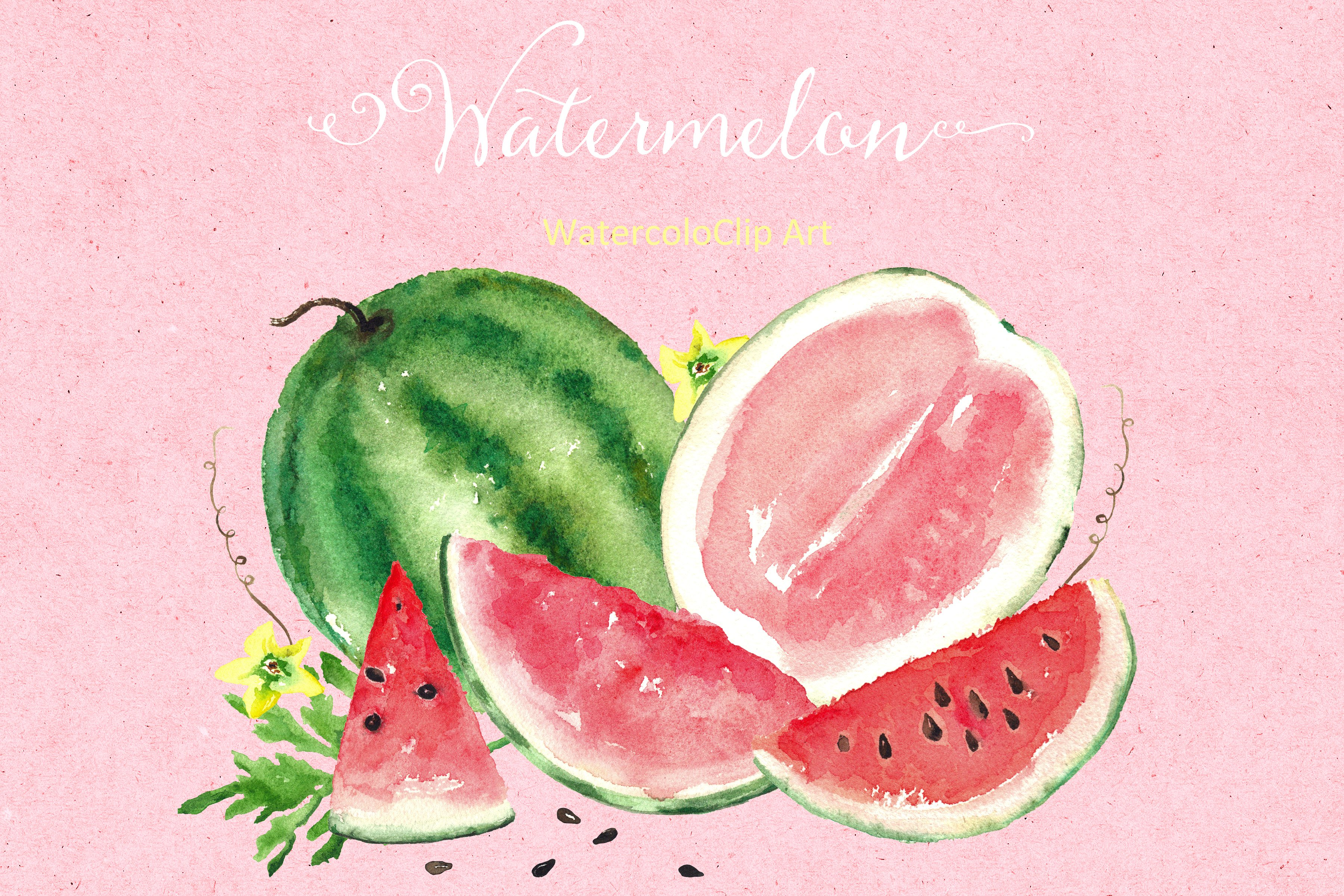 Watermelon clipart juicy watermelon. Watercolor clip art graphics