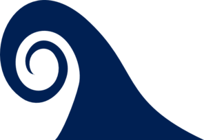 Wave clipart curling wave. Navy single curl clip