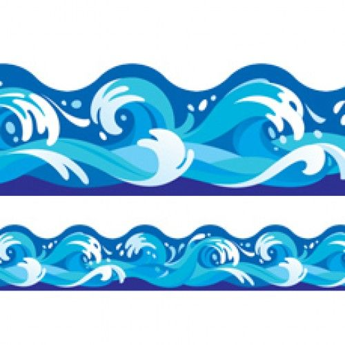 Wave clipart frame. Ocean classroom display trimmers