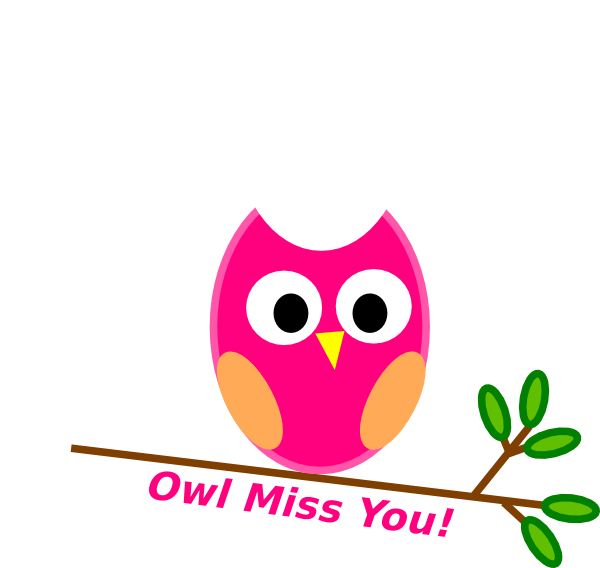 Owl miss you pink. We clip svg black and white stock