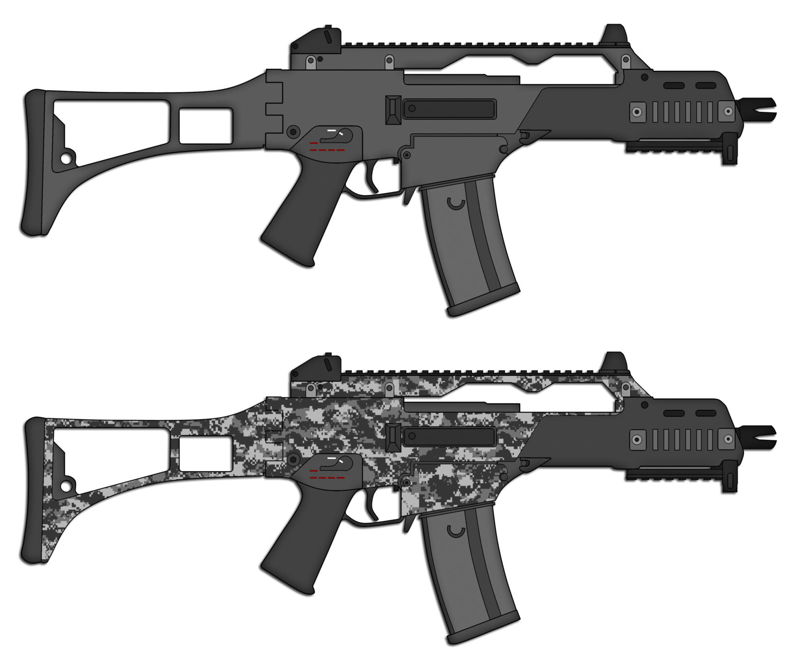 Weapon drawing assault rifle. Hk g c by