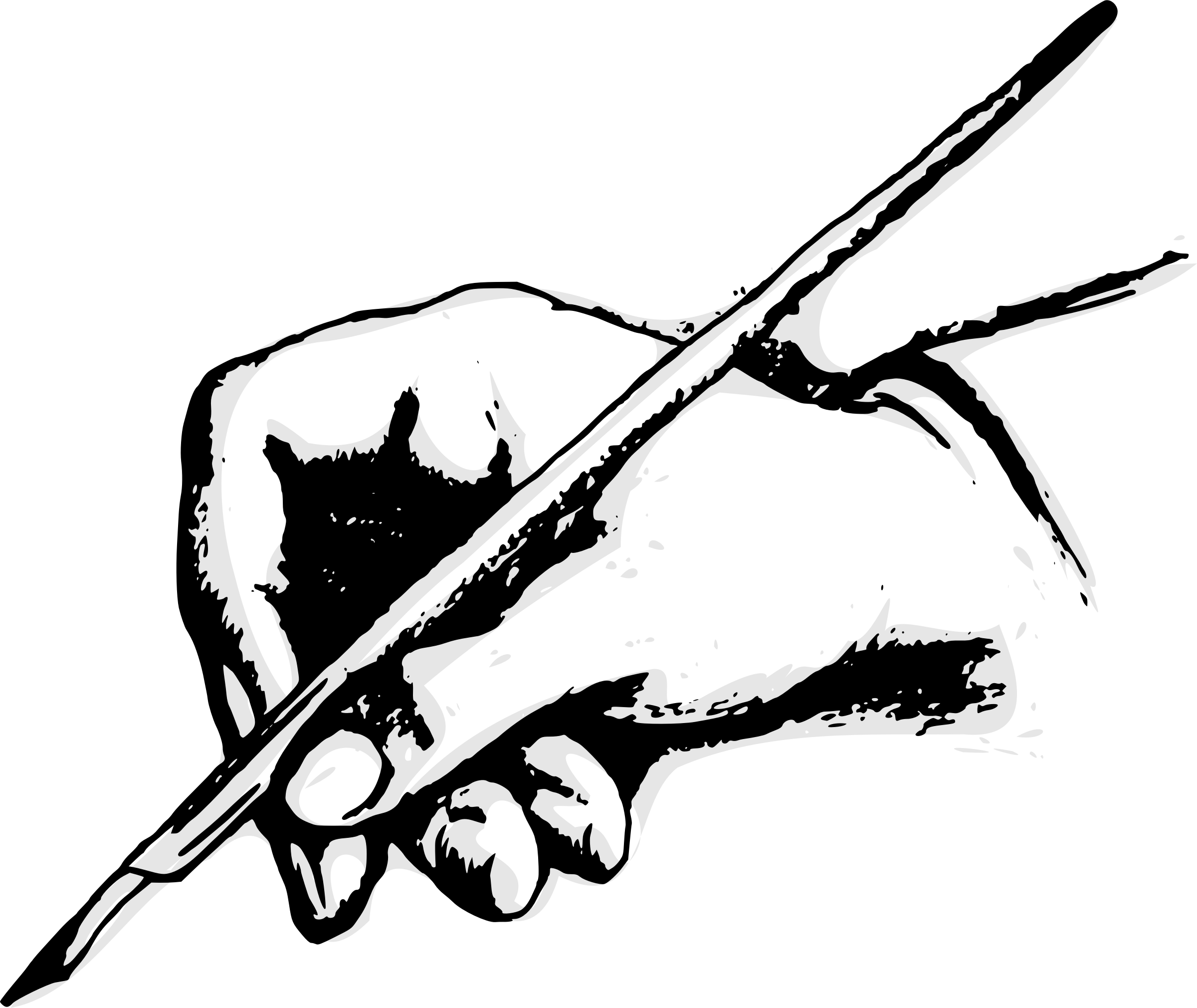 Weapon drawing hand. Clipart with quill big