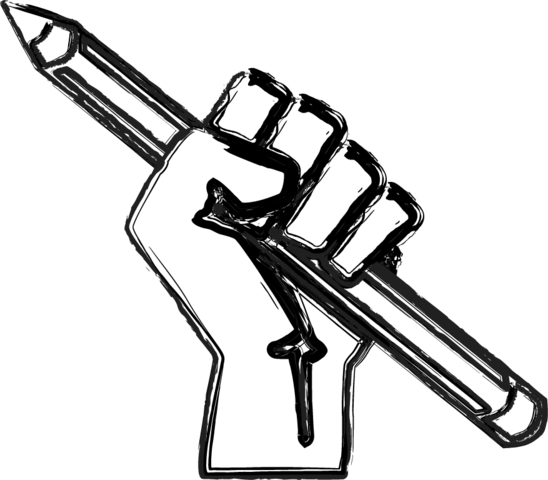 Weapon drawing pencil. File raised fist with