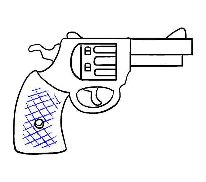 Weapon drawing pistol. How to draw a