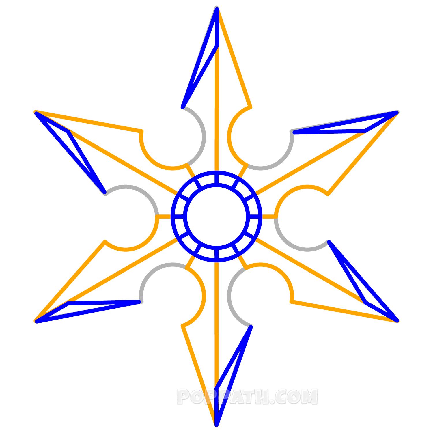Weapon drawing shuriken. How to draw a