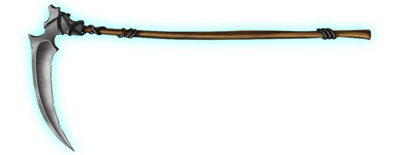 Weapon drawing sickle. Grim scythe in mech