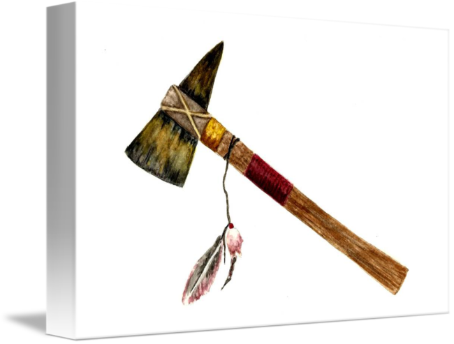 Weapon drawing tomahawk. Native american by michael