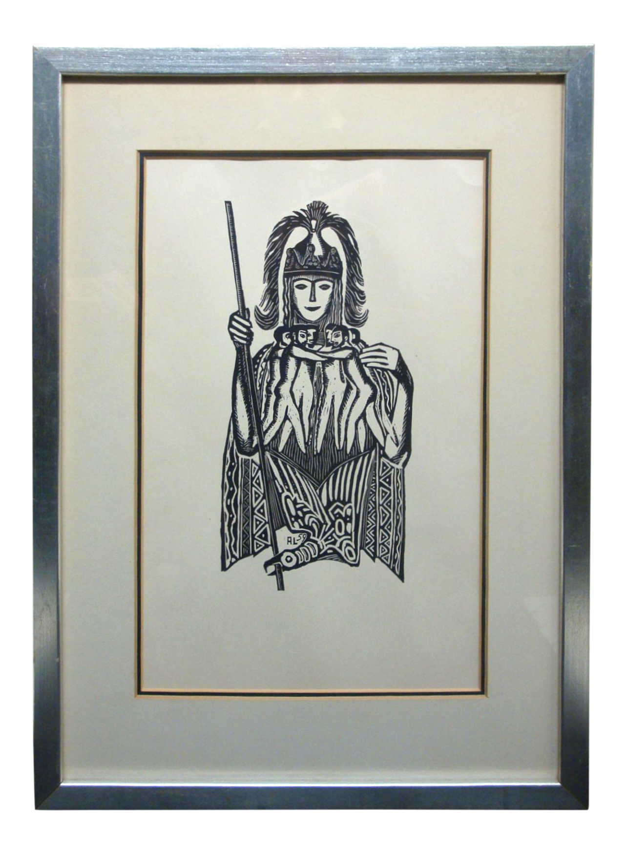 Weapon drawing tribal. Midcentury framed woodblock print