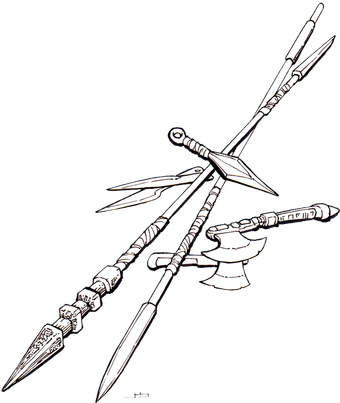 Weapon drawing weaponry. Dark and dangerous magic