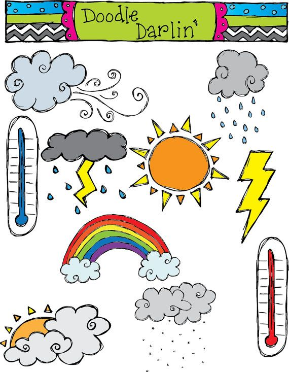 Weather clipart kindergarten. Set instant download scrapbooking