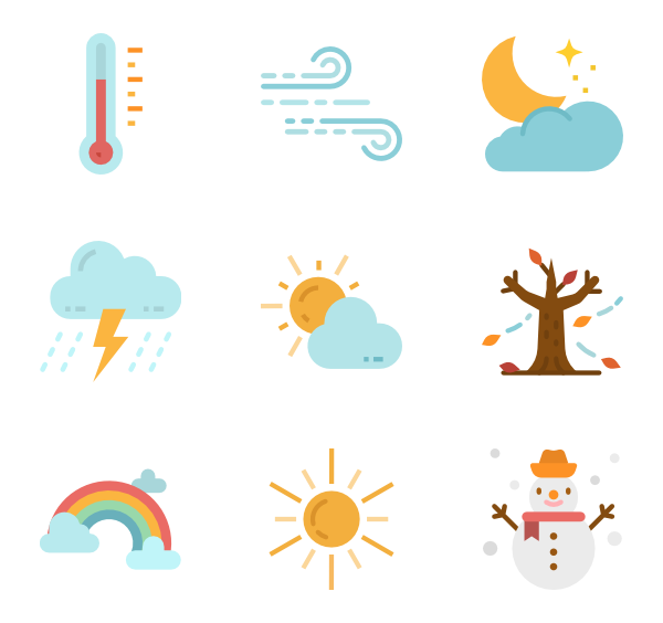 Weather vector. Forecast icons free