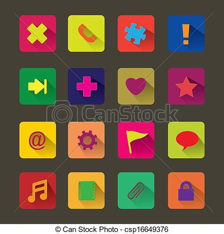 Web clipart basic. Vector flat icon stock