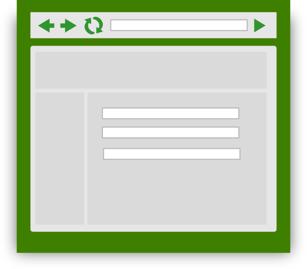Webbrowser. Web browser with green