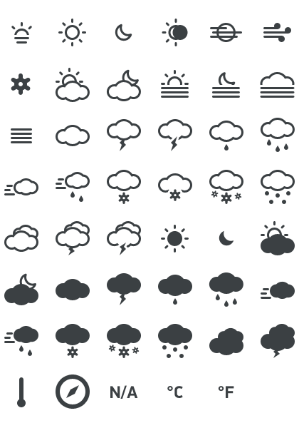 Website icons free png. Meteocons weather for web