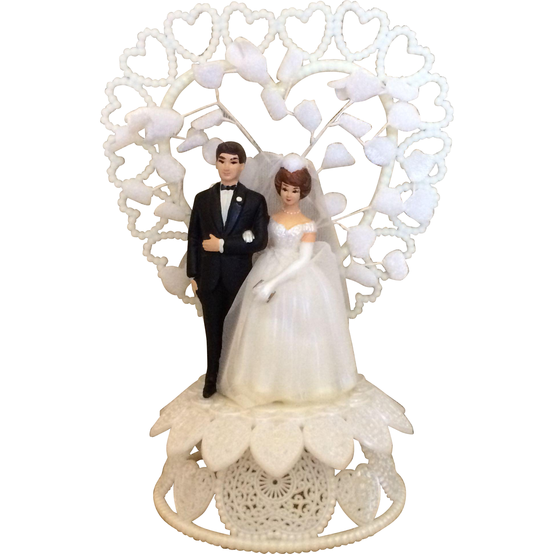 Wedding cake topper png. Vintage hand painted and