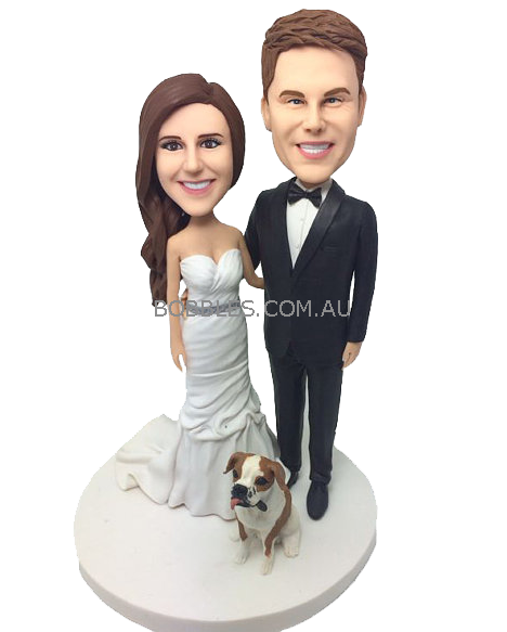 Wedding cake topper png. Couple and dog availability
