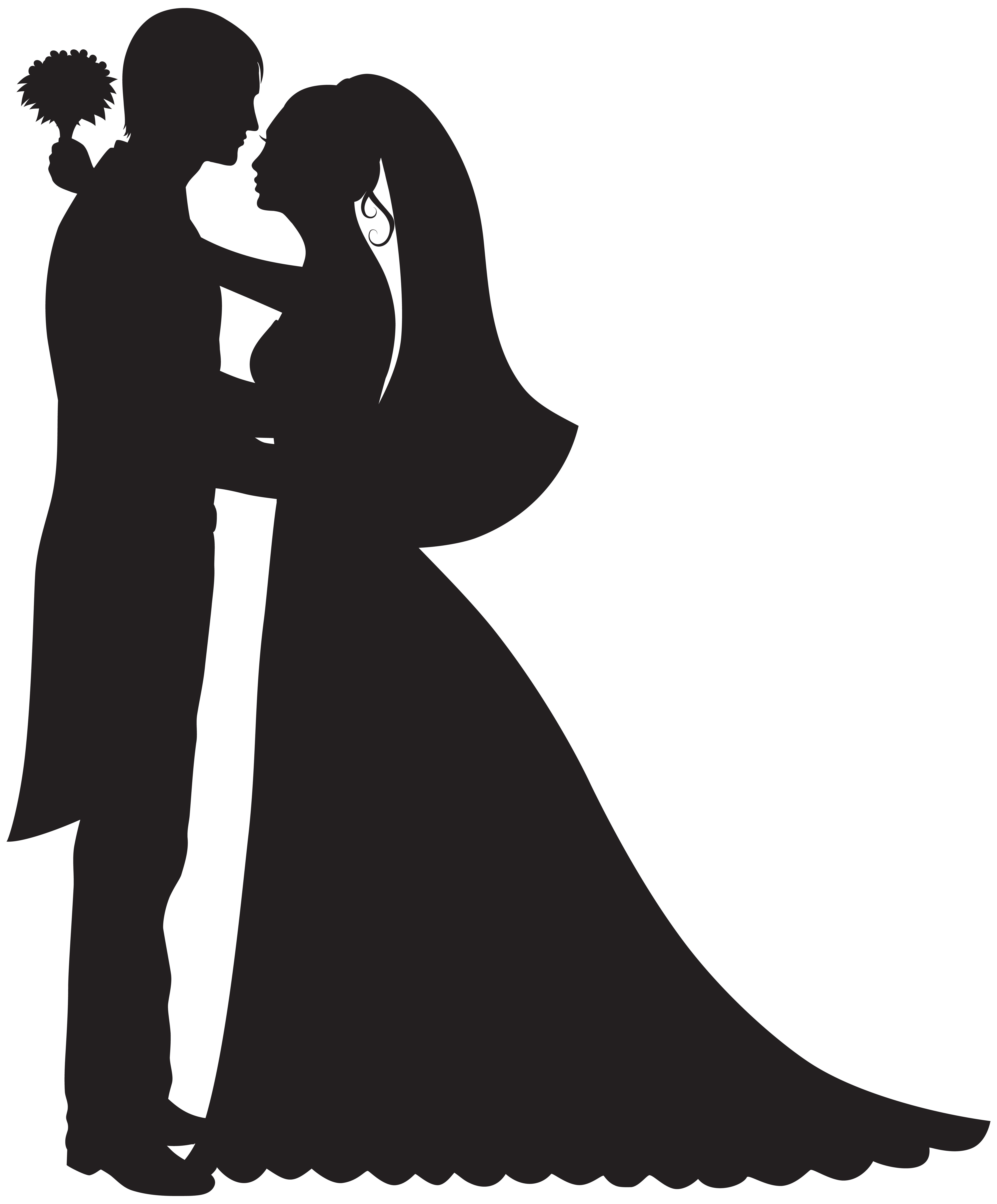 Wedding clip art png. Bride and groom silhouette