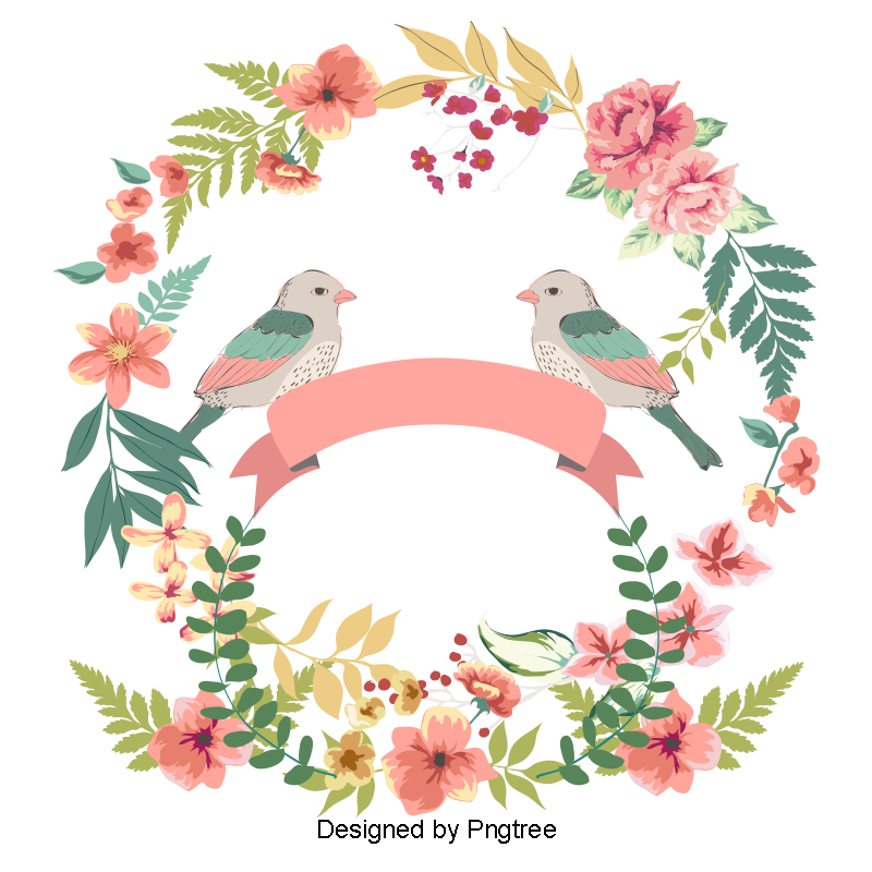 Wedding clipart png free download. Vector love birds flowers