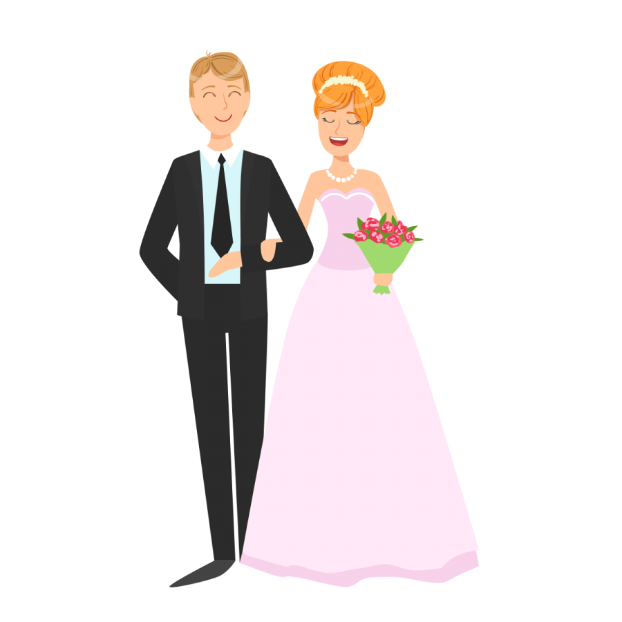 Wedding couple cartoon png. Vector image transparent background