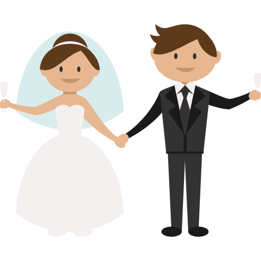 Wedding couple cartoon png. Groom bride icon images