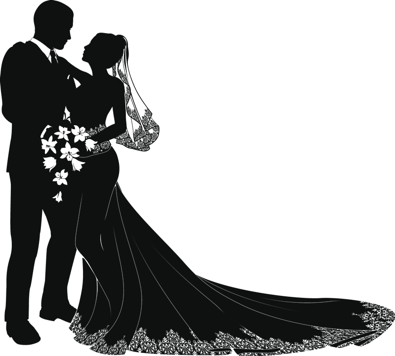 Wedding couple silhouette png. Free vector art silhouettes