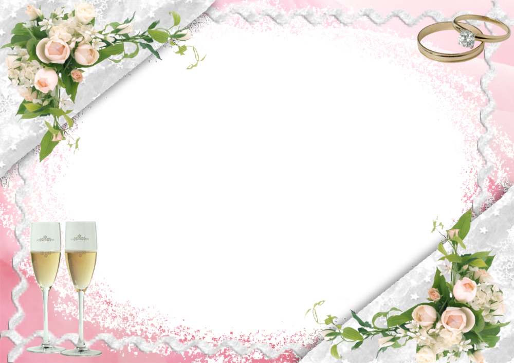 Wedding frame png. Transparent pink with bubbly