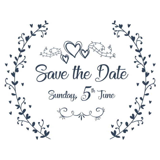 Wedding ornament png. Save the date invitation