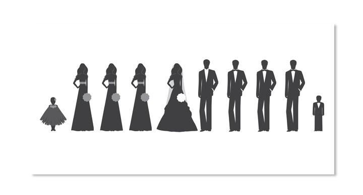 Wedding party silhouette png. Programs with bridal silhouettes